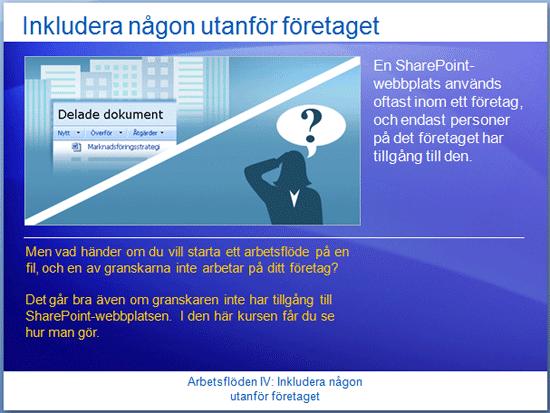 Utbildningspresentation: SharePoint Server 2007 – Arbetsflöden IV: Inkludera någon utanför företaget