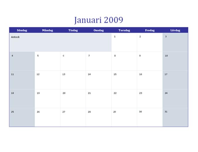 Kalender för 2009 på flera kalkylblad