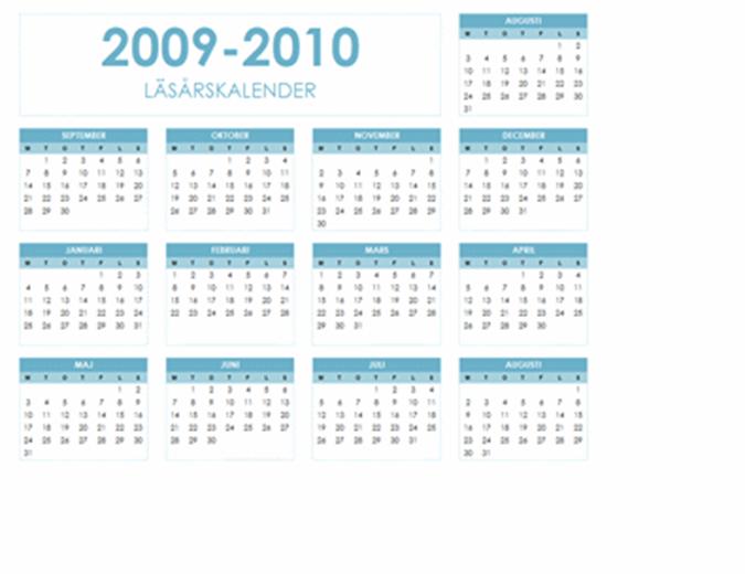 Skolårskalender för 2009-2010 (1 sida, liggande, må-sö)