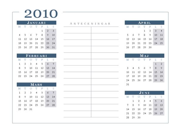 Kalender för 2010 (6 månader/sida, må-sö)