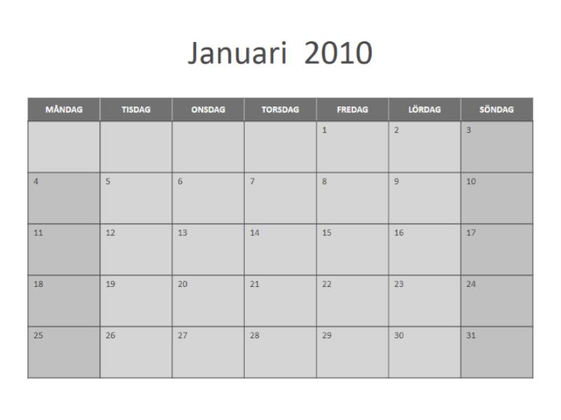 Kalender för 2010 (må-sö)