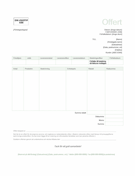 Offert (designuppsättningen Grön)
