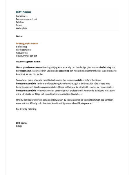 Följebrev för funktionellt CV