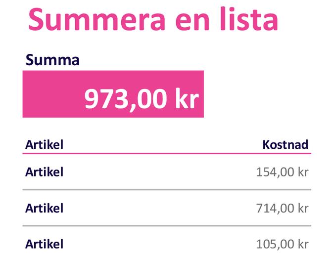 Summera en lista