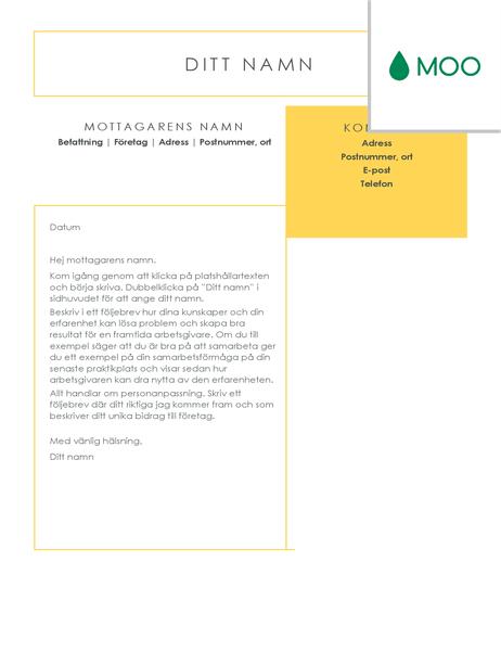 Tydligt och rent följebrev, utformat av MOO