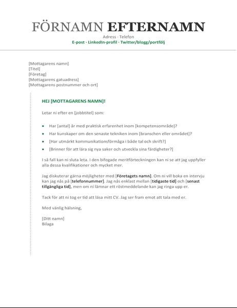Följebrev till meritförteckning (kronologisk ordning)