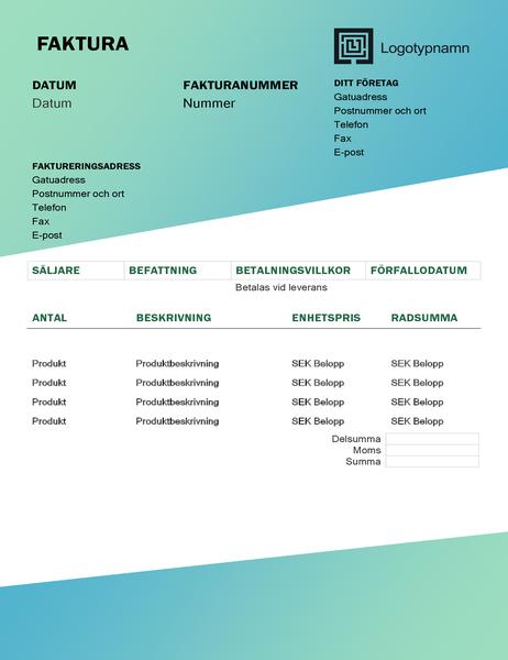 Tjänstefaktura (designuppsättningen Grön toning)