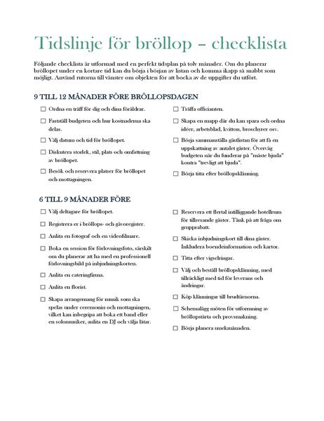 Tidslinje för bröllop – checklista