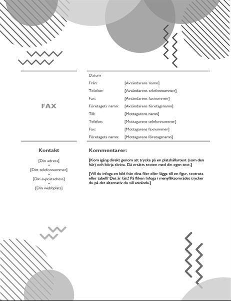 Åttiotal, svartvitt försättsblad för fax