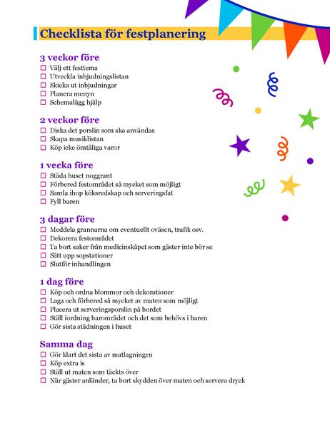 Checklista för festplanering