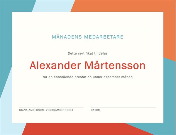 Certifikat för månadens medarbetare