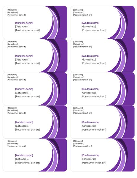 Lila adressetiketter (10 per sida)