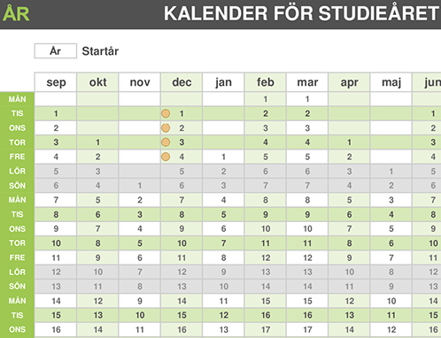 Kalender för studieåret