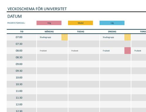 Veckoschema universitet