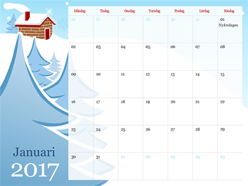 Illustrerad kalender för 2015, mån–sön