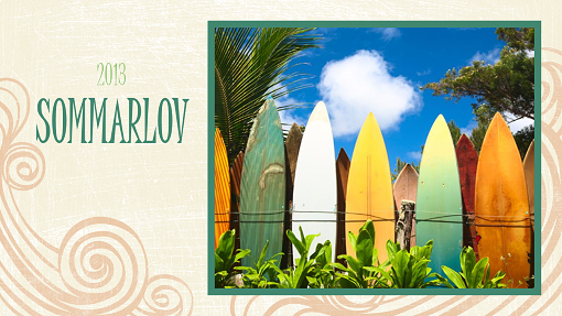 Fotoalbum med semesterbilder (stranddesign, bredbild)