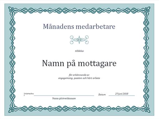Diplom, Månadens anställd (blå kedjedesign)