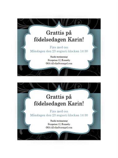 Festinbjudningar (med blått band, två per sida)
