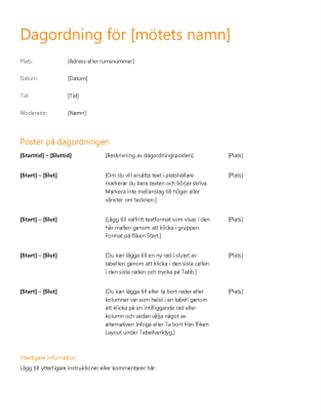 Dagordning för affärsmöten (orange design)
