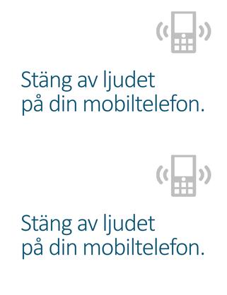 Affisch som påminner folk om att stänga av sina mobiltelefoner