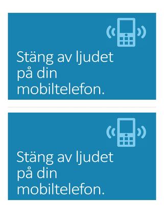 Affisch som påminner folk om att stänga av sina mobiltelefoner (blå)