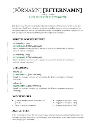 Kronologisk meritförteckning (modern design)