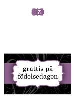 Födelsedagskort (med lila band, dubbelvikt)