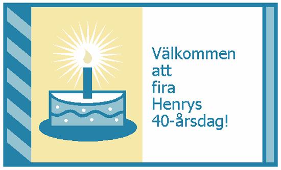 Inbjudan till födelsedagsfest (kort, inget kuvert krävs)