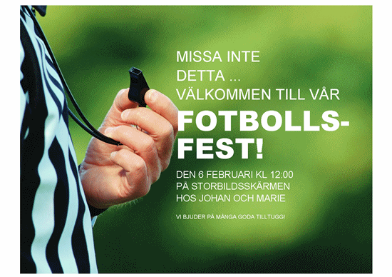 Flygblad för fotbollsfest