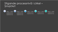Presentationsbild med SmartArt av process som ökande cirkel (grått och blått på svart), bredbildsformat