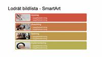 Presentationsbild med SmartArt av lodrät bildlista (flerfärg på vitt), bredbildsformat