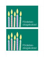 Inbjudning till födelsedagsfest, vykort (2 per sida)