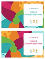 Inbjudningskort för födelsedagar (två per sida, ljus design)