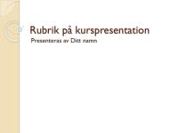Utbildningspresentation: Allmänt