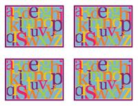 Bokstavssnabbkort (baksida; fungerar med Avery 3263, 8387)