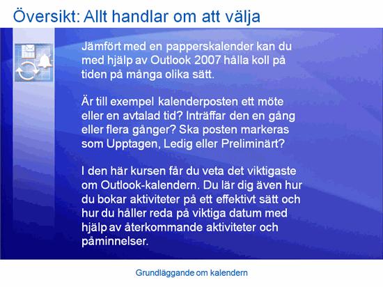 Utbildningspresentation: Outlook 2007 – Grundläggande information om kalendrar
