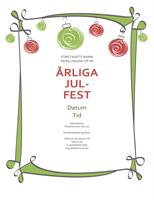 Inbjudan till julfest med julpynt i rött och grönt (informell)