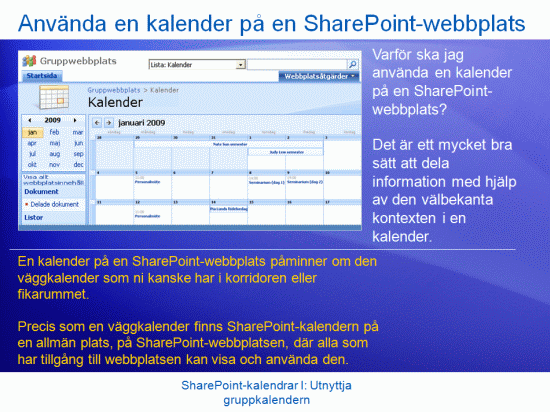 Utbildningspresentation: SharePoint Server 2007 – Kalendrar I: Utnyttja gruppkalendern