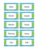 Namnbrickor eller placeringskort (moln, 10/sida)