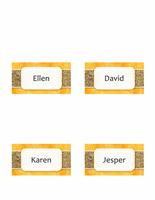 Namnbrickor eller placeringskort (sol och sand, dubbelvikt modell)