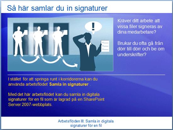 Utbildningspresentation: SharePoint Server 2007 – Arbetsflöden III: Samla in digitala signaturer för en fil