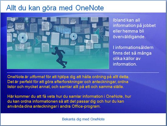 Utbildningspresentation: OneNote 2007 – Bekanta dig med OneNote