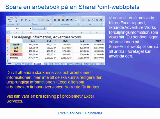 Utbildningspresentation: SharePoint Server 2007 – Excel Services I: grunderna