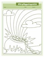 Färgläggningsbild för St. Patrick's Day (kruka med guld)
