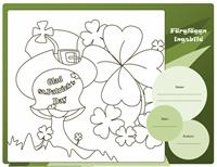 Färgläggningsbild för St. Patrick's Day (fyrklöver)