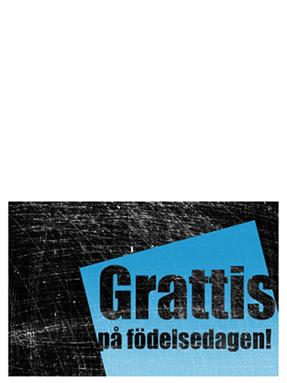 Födelsedagskort, repad bakgrund (svart, blå, dubbelvikt)