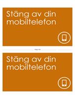 Affisch som påminner folk om att stänga av sina mobiltelefoner (orange)