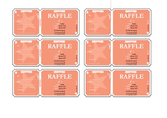 Raffle tickets (6 ต่อหนึ่งหน้า)