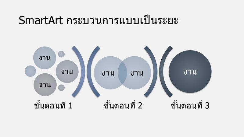 SmartArt สำหรับกระบวนการแบบเป็นระยะ (สีฟ้าและน้ำเงิน) ในรูปแบบจอกว้าง