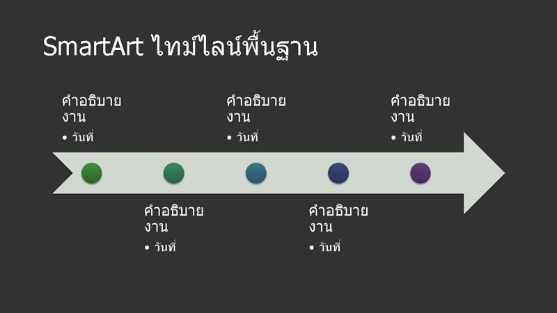 SmartArt สำหรับเส้นเวลาพื้นฐาน (สีขาวบนสีเทาเข้ม) แบบจอกว้าง